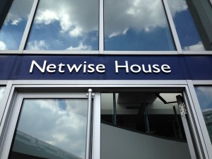 Brushed Netwise House signage in place above main entrance