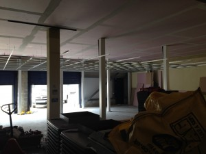 Ground floor data hall as ceiling is installed below bulkhead