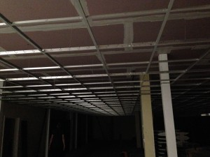Completed ceiling grid in ground floor data hall