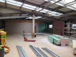 A look across the first floor data hall as structural works progress
