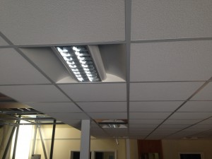 Lighting installed into ceiling grid