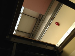 A look up the developing lift shaft to the first floor data hall
