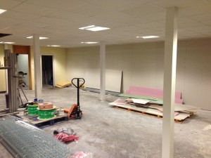 The temporary divisional wall installed in ground floor data hall, until this area is converted into technical space