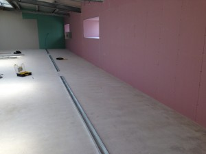 Channel installed for base of cold corridor enclosure