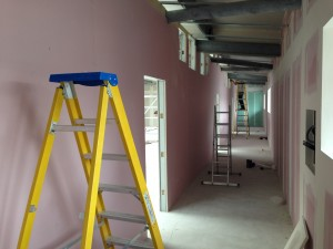 Internal face of corridor reaching completion