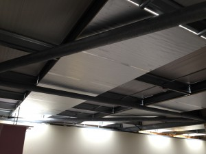Air plenum zoning installed in ceiling, blocking out the large overhead ceiling windows with reflective Celotex insulation