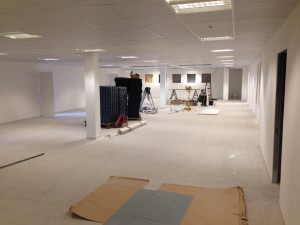 A look across the (currently congested) first floor data hall as works continue this week