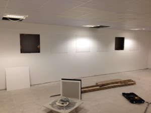 Blanking panels installed on extraction outlets which will not be fully installed from opening date