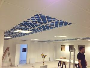 Air filters installed in ceiling grid, for second cold corridor containment pod