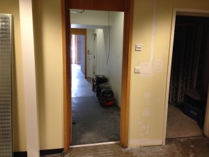 Flooring in ground floor access corridors reached completion