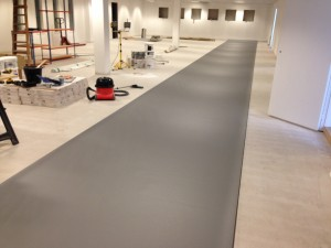 Floor covering is laid out in main data hall and provisionally cut to size