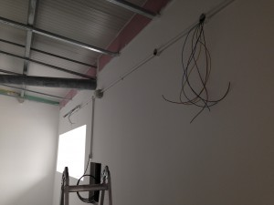 Cabling installation under way along conduit backbone