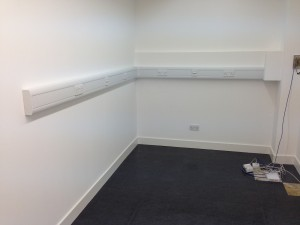 Trunking installation completed, with power and network installed