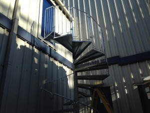 Staircase nearing landing level at first floor data hall fire exit