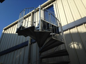 The completed fire exit staircase