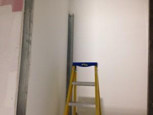 Power trunking installation under way in lift shaft riser