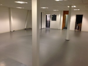 Completed floor covering in loading bay / warehouse