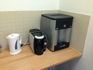 New water filter / cooler and coffee machine to cater for visitor tastes