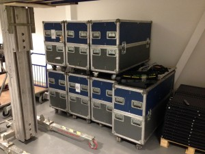 Custom migration flight cases being prepared for specialist hardware during the move into the new facility.