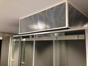 Finalisation of cold corridor enclosure sliding doors
