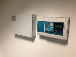 VESDA system and power supply units fitted to data hall entry point