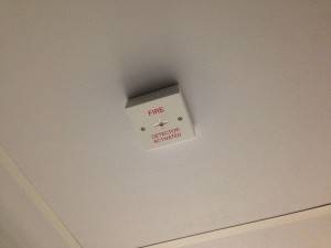 Ceiling void alarm notification points fitted to data hall ceiling