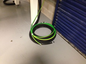 Cable coiled together for one of the generators, ready for taking outside through the cladding onto the cable ladder