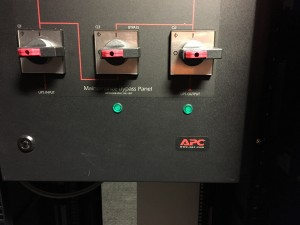 Custom lights fitted to our UPS bypass panels for immediate load status information