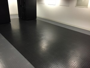 A look at one of our empty pod locations with the anti-static floor polish applied