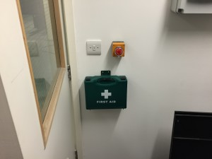 First aid kits have been installed in various key locations around the facility