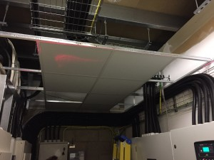 A look at the ceiling grid being installed in the electrical intake room
