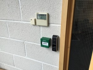 A look at the outward facing access control cluster on the customer kitchen door