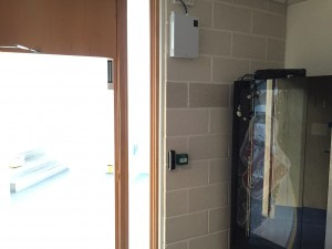 A look at the access control hardware inside the customer kitchen area