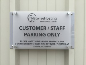 New parking signage to ensure our private bays are kept for the exclusive use of our staff and customers