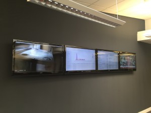 Our on-site NOC screens being tested after some initial systems integration